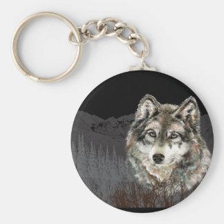 Montaña con el desierto del animal del lobo de la  llavero redondo tipo pin