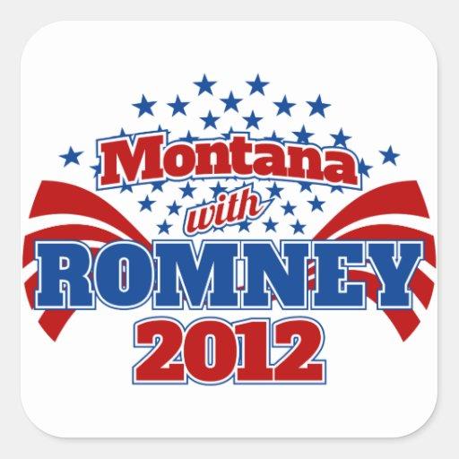 Montana con Romney 2012 Pegatina Cuadrada
