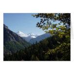 Montaña coronada de nieve escénica tarjeta