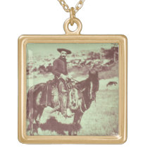 Montana Cowboy, c.1880 (b/w photo) Gold Plated Necklace