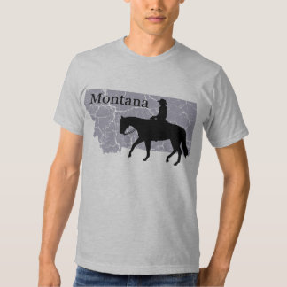 Montana Cowboy Grunge Map Mens Grey T-shirt