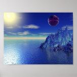 Montaña cristalina azul impresiones