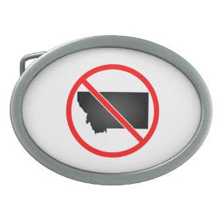 Montana Cross Out Symbol Oval Belt Buckles