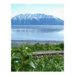 Montaña de Alaska a lo largo del brazo de Turnagai Membrete