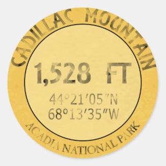 Montaña de Cadillac Pegatina Redonda