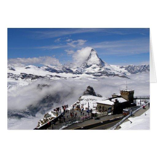 Montaña de Cervino y estación de Gornergrat Tarjeta De Felicitación