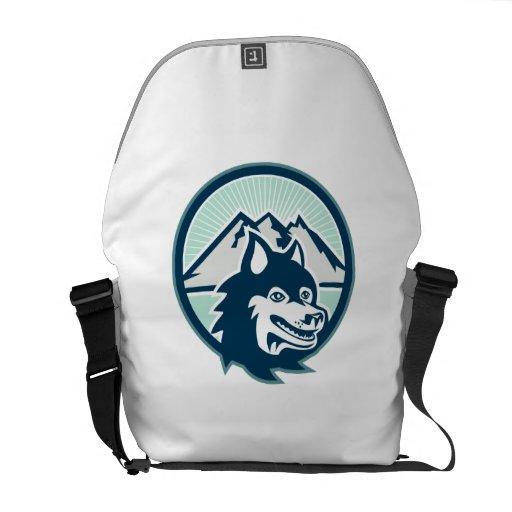 Montaña de la cabeza de perro del husky siberiano  bolsa de mensajería