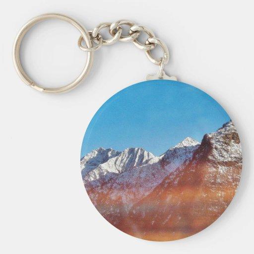 Montaña de la montaña llavero redondo tipo pin
