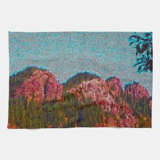 Montaña del mosaico toalla de mano