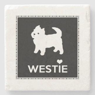 Montaña del oeste linda Terrier - amor Westies de Posavasos De Piedra