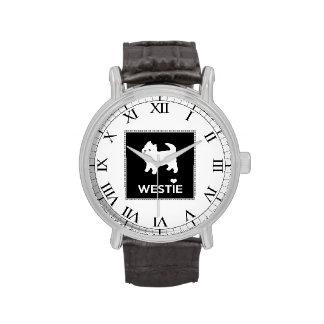 Montaña del oeste linda Terrier - amor Westies de Reloj