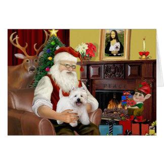 Montaña del oeste Terrier 5 de Santa en casa - Tarjeta