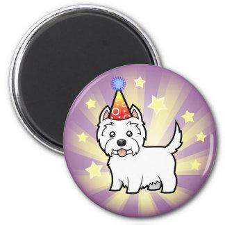 Montaña del oeste Terrier blanco del cumpleaños Imán Redondo 5 Cm