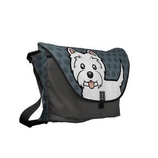 Montaña del oeste Terrier blanco del dibujo animad Bolsas De Mensajería