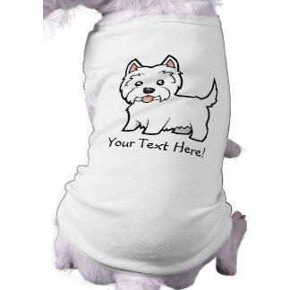 Montaña del oeste Terrier blanco del dibujo animad Playera Sin Mangas Para Perro