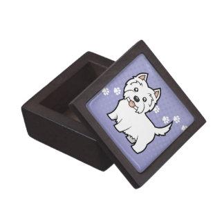 Montaña del oeste Terrier blanco del dibujo Caja De Recuerdo De Calidad