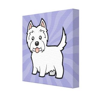 Montaña del oeste Terrier blanco del dibujo Impresiones En Lona