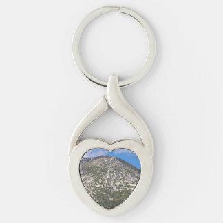 Montaña del sur de la cascada del lago Tahoe Llavero Plateado En Forma De Corazón