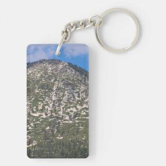 Montaña del sur de la cascada del lago Tahoe Llavero Rectangular Acrílico A Doble Cara
