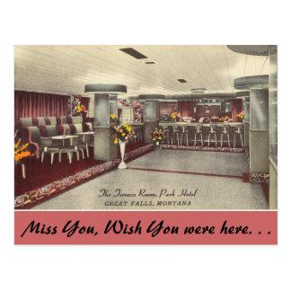 Montana, el cuarto de la terraza, hotel de parque postal