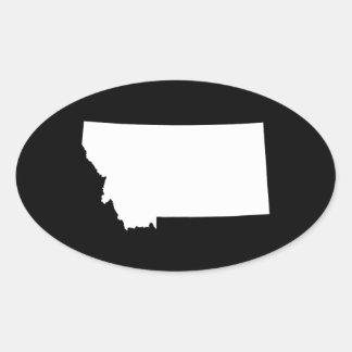 Montana en blanco y negro pegatina ovalada
