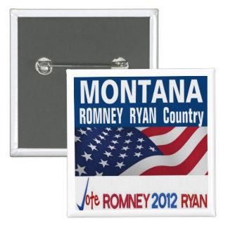 MONTANA es botón del país de Romney Ryan Pin Cuadrado