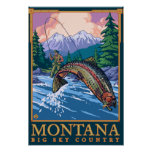 Montana -- Escena grande de la pesca de CountryFly Poster