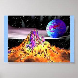 Montaña extranjera del espacio póster