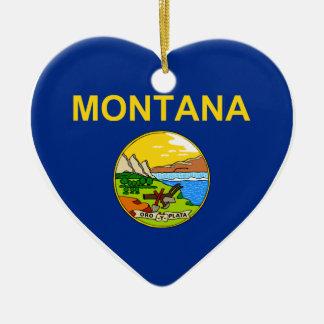 Montana Flag Heart Christmas Tree Ornaments