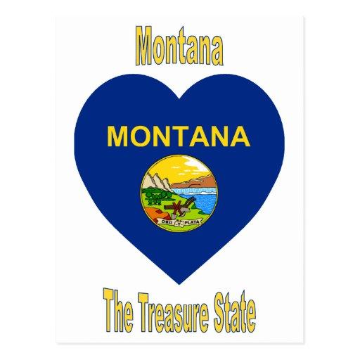 Montana Flag Heart Postcard