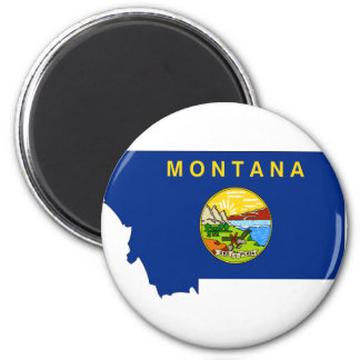 Montana Flag Map 2 Inch Round Magnet