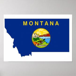 Montana Flag Map Print