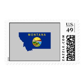 Montana Flag Map Stamp