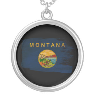Montana Flag Round Pendant Necklace