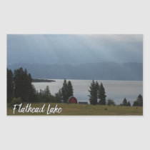 Montana Flathead Lake Shore Red Barn Trees Rectangular Sticker