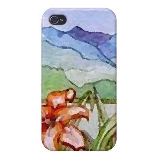 Montaña floral - arte de CricketDiane iPhone 4 Cárcasas