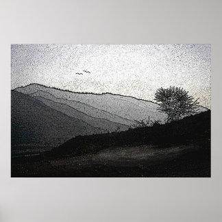 Montaña gris póster