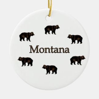 Montana Grizzly Bears Double-Sided Ceramic Round Christmas Ornament