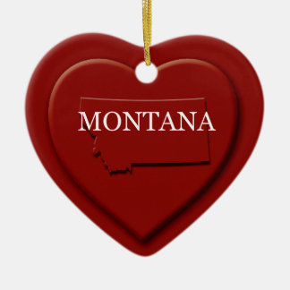 Montana Heart Map Christmas Ornament