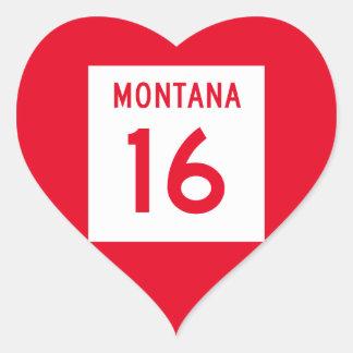 Montana Highway 16 Heart Sticker