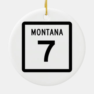 Montana Highway 7 Ceramic Ornament