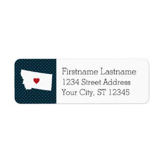 Montana Home State City Map - Custom heart Label