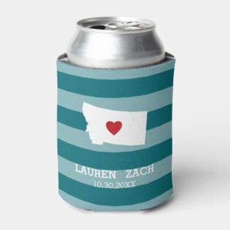 Montana Home State City Map - Custom Wedding Can Cooler