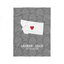 Montana Home State City Map - Custom Wedding Fleece Blanket