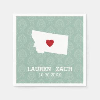 Montana Home State City Map - Custom Wedding Paper Napkin