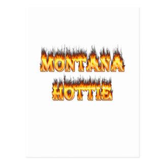 Montana hottie fire and flames postcard