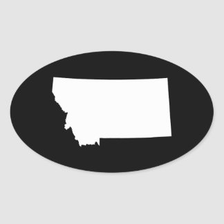 Montana in White and Black Oval Sticker