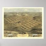 Montana Iowa 1868 Antique Panoramic Map Print
