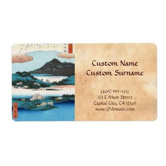 Montaña japonesa del waterscape del ukiyo-e fresco etiqueta de envío