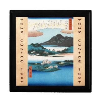 Montaña japonesa del waterscape del ukiyo-e fresco joyero cuadrado grande